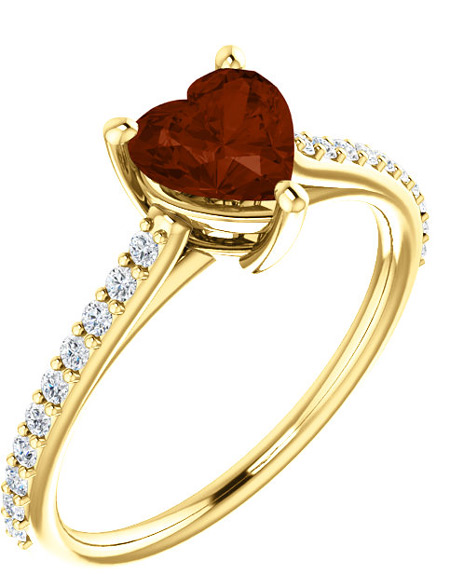 Red Wine Heart-Shaped Garnet Ring with 1/5 Carat Diamonds
