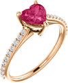 Rose Gold Heart-Shaped Pink Topaz Diamond Ring