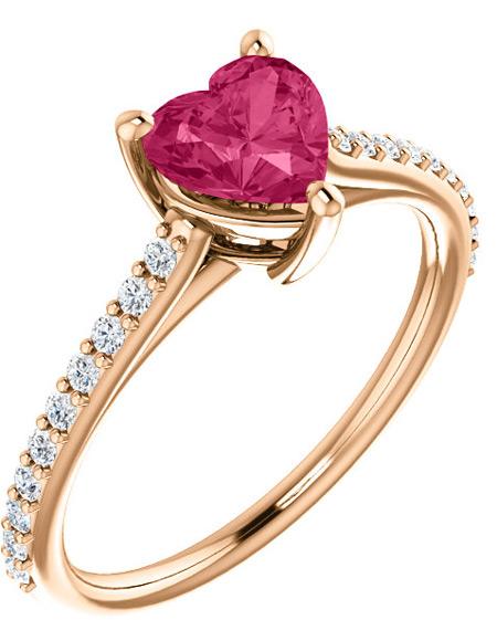 Rose Gold Heart-Shaped Pink Topaz Diamond Ring