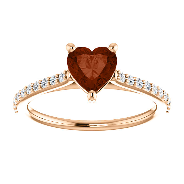 Rose Gold Heart Shaped Wine Red Garnet and Diamond Ring