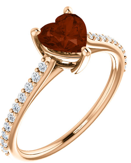 Rose Gold Heart-Shaped Wine-Red Garnet and Diamond Ring