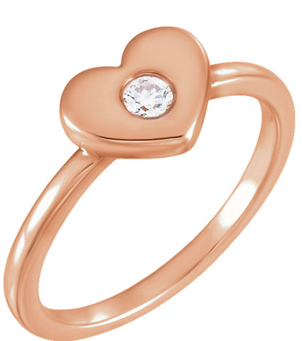 Undivided Love Diamond Heart Ring 14K Rose Gold