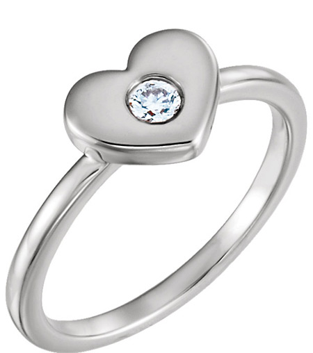 Sterling Silver Undivided Love Diamond Heart Ring