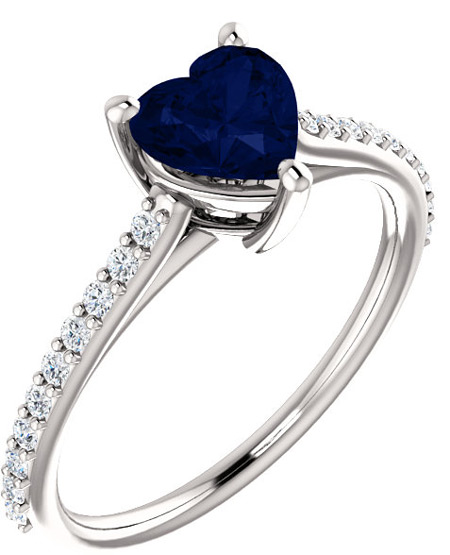 Velvet Blue Heart-Shaped Sapphire and 1/5 Carat Diamond Ring