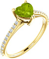 Vivacious Green Peridot Heart and Diamond Ring in Yellow Gold
