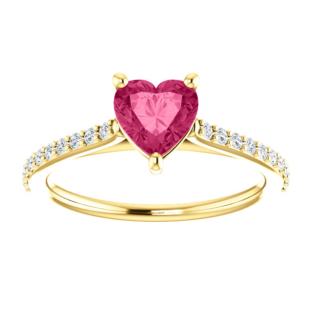 Yellow Gold Heart Shape Pure Pink Topaz Diamond Ring