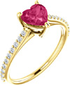 Yellow Gold Heart-Shape Pure Pink Topaz Diamond Ring