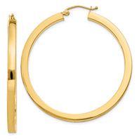14K Gold Square-Edged Hoop Earrings, 1 3/4