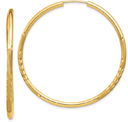 Large 1 5/8 Inch Satin Diamond-Cut Endless Hoop Earrings in 14K Gold