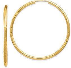 Large 1 5/8 Inch Satin Diamond-Cut Endless Hoop Earrings in 14K Gold