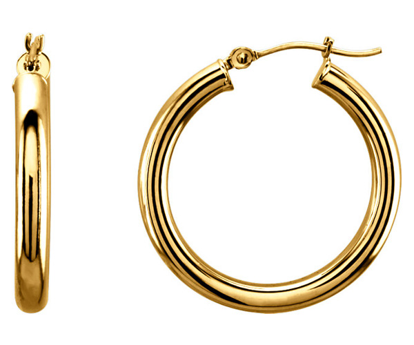 1-Inch 14K Yellow Gold Hinged Hoop Earrings (3mm)