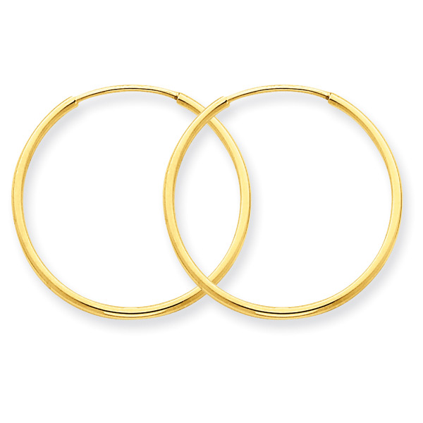 13/16 Inch 14K Yellow Gold Hoop Earrings