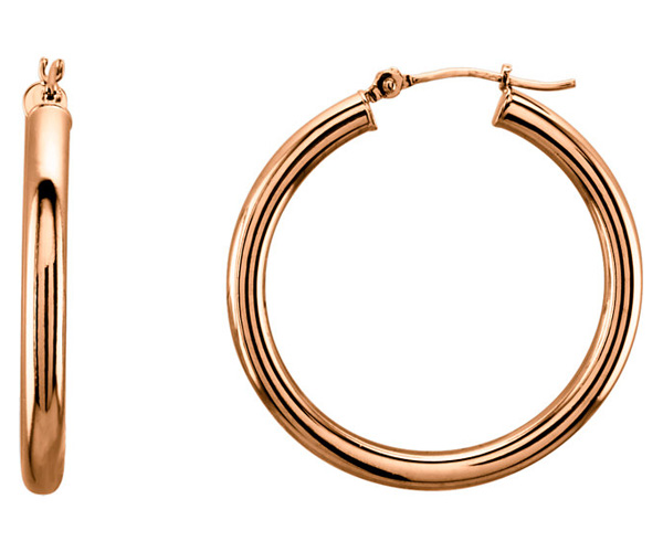 14K Rose Gold 1 3/16 Inch Hinged Hoop Earrings (3mm Thick)