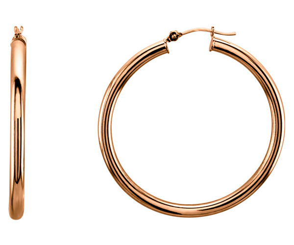 14K Rose Gold 1 9/16 Inch Hinged Hoop Earrings, 3mm