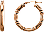 "14K Rose Gold 1"" Hinged Hoop Earrings (3mm Thick)"