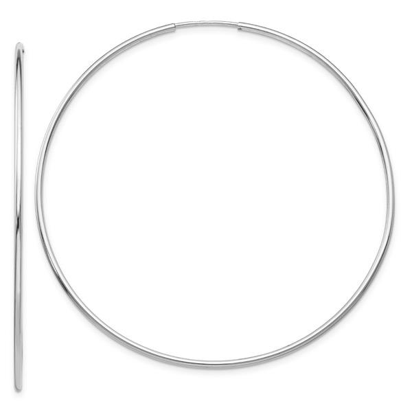 Big 14K White Gold Endless Hoop Earrings, 2 5/16 Inch