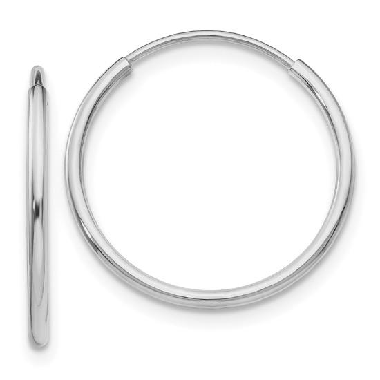 14K White Gold Endless Hoop Earrings, 3/4