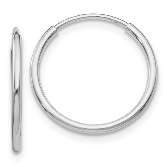 14K White Gold Endless Hoop Earrings, 7/8