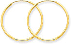 Thin 14K Gold Diamond-Cut Endless Hoop Earrings (7/8