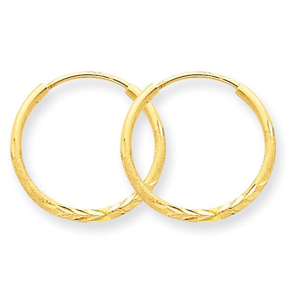 Small Diamond-Cut Endless Hoop Earrings, 14K Yellow Gold (9/16