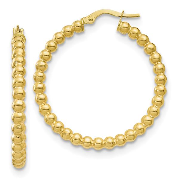 Italian Beaded Hoop Earrings in 10K Gold