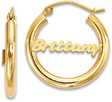Custom Name Hoop Earrings, 14K Gold