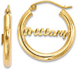 Diamond-Cut Personalized Name Hoop Earrings, 14K Gold