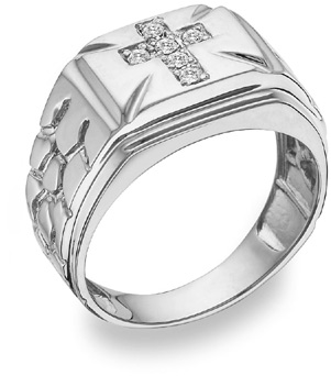 Diamond Cross Nugget Ring, 14K White Gold