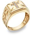 Diamond Cross Nugget Ring, 14K Yellow Gold