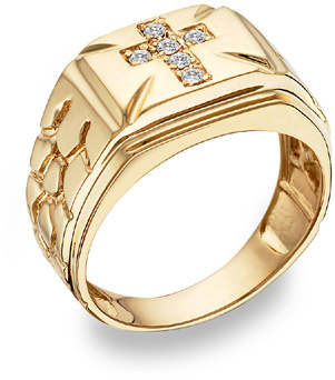 Diamond Cross Nugget Ring, 14K Yellow Gold
