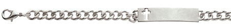 Stainless Steel Men's Cross ID Bracelet