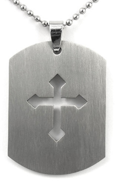 God's Army Titanium Cross Dog Tag Pendant