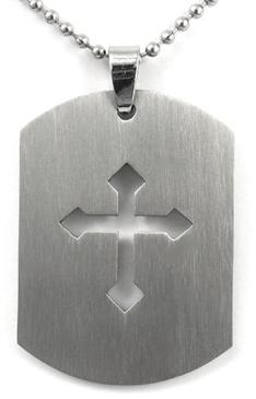 God's Army Titanium Cross Dog Tag Pendant