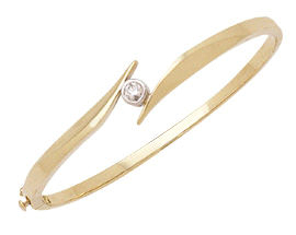 Diamond Solitaire Bangle Bracelet, 14K Two-Tone Gold