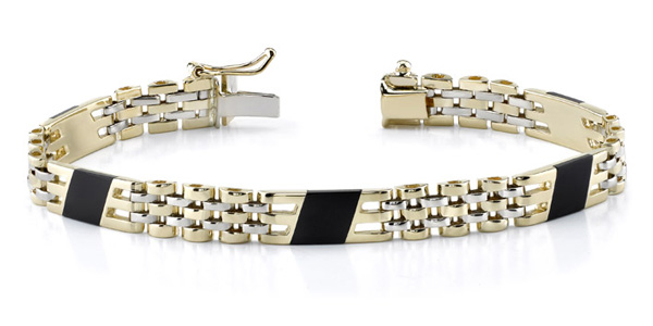 14K Gold Men's Design Onyx Bracelet