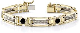 14K Gold Men's Onyx Bracelet