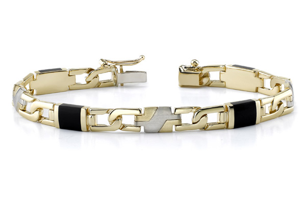 Buy 14K Gold Men's Onyx Bracelet