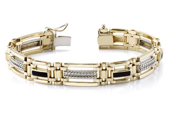 14K Gold Men's Two-Tone Onyx Bracelet