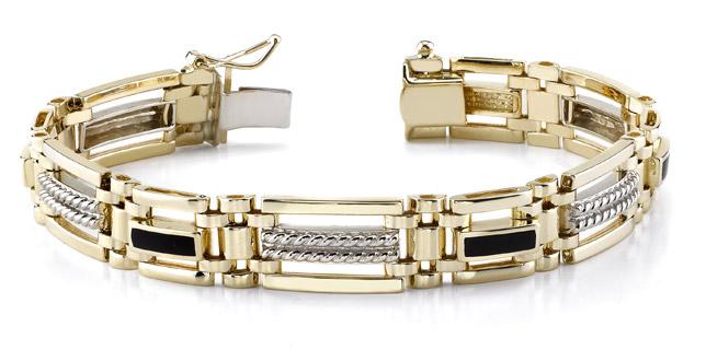 0c307195900 14K Gold Men's Two-Tone Onyx Bracelet