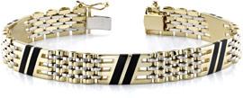 14K Gold Men's Onyx Design Bracelet
