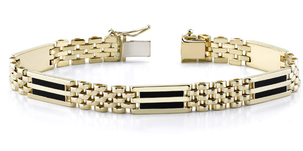 14K Gold Men's Two-Row Onyx Bracelet