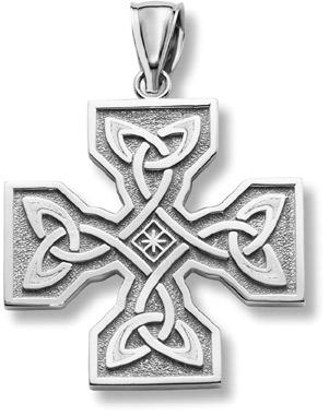Celtic Cross Pendant, 14K White Gold