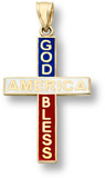God Bless America 14K Gold Cross Pendant