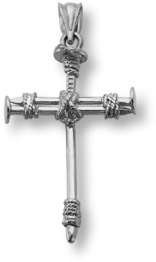 Cross of Nails Pendant, 14K White Gold