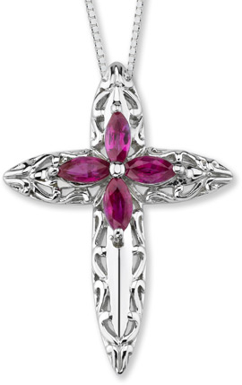 14K White Gold Floral Ruby Cross Pendant