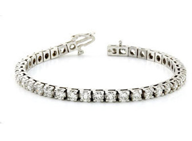 1 Carat Diamond Tennis Bracelet, 14K White Gold (Bracelets, Apples of Gold)