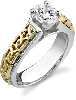 Celtic Engagement Ring, 14K Two-Tone Gold, 1 Carat Diamond (Apples of Gold)