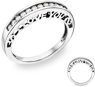 I Love You Diamond Wedding Band Ring