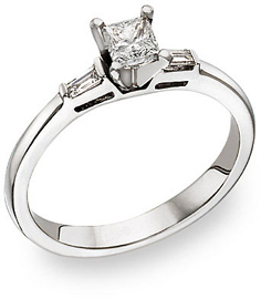 Buy Princess Cut and Baguette Diamond Engagement Ring