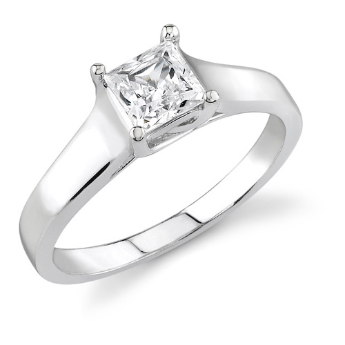 3/4 Carat Cathedral Princess Cut Diamond Engagement Ring, 14K White Gold